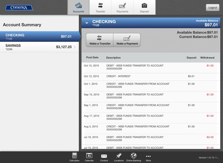 Comerica Mobile Banking® for iPad screenshot-3