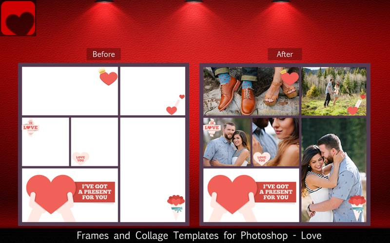 Frames and Collage Templates for Photoshop - Love screenshot 3