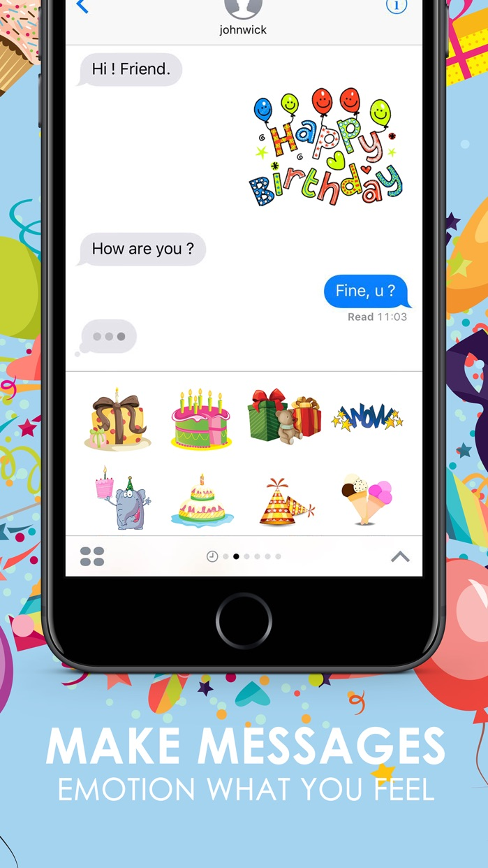 Birthday Emoji Stickers Keyboard Themes ChatStick Screenshot