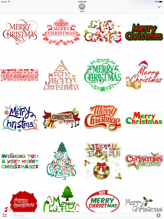 Merry Christmas Wish Typography Stickers-ipad-0