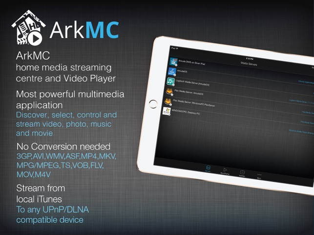 Arkmc media streaming server and hd video player on the app store