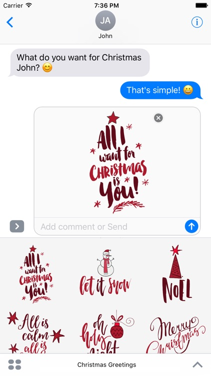 Christmas Greetings for iMessage Stickers