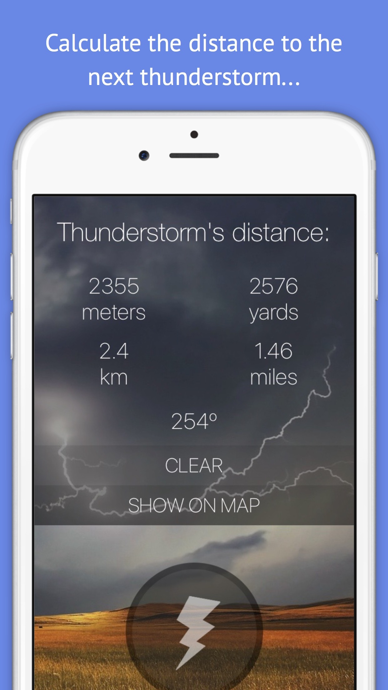Thunderstorm Location Calculator - Get Distance & Location of the next Thunderstorm! Screenshot