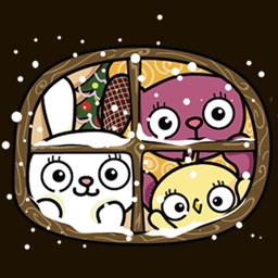 Chick Rabbit and Lion Christmas Sticker