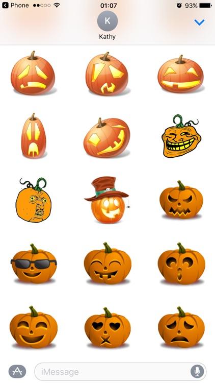 Halloween Pumpkin Emoji Stickers for Funny Text