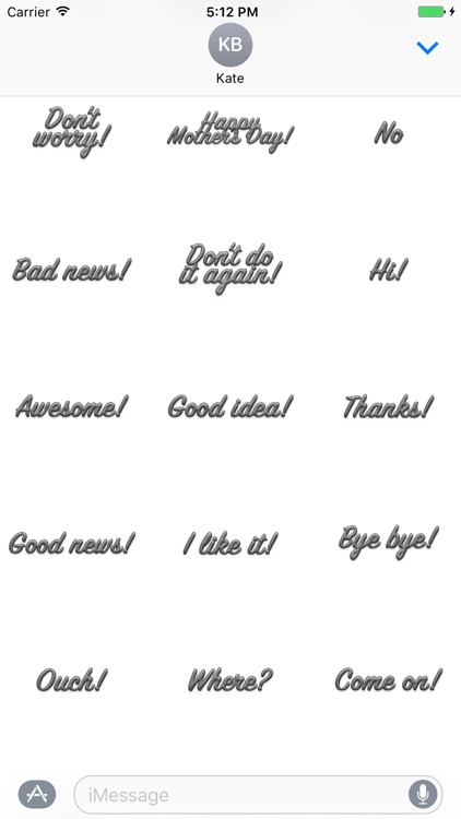 Expressions Grey Stripes Stickers for iMessage screenshot-2