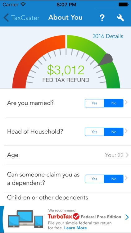 TaxCaster – Free tax refund calculator