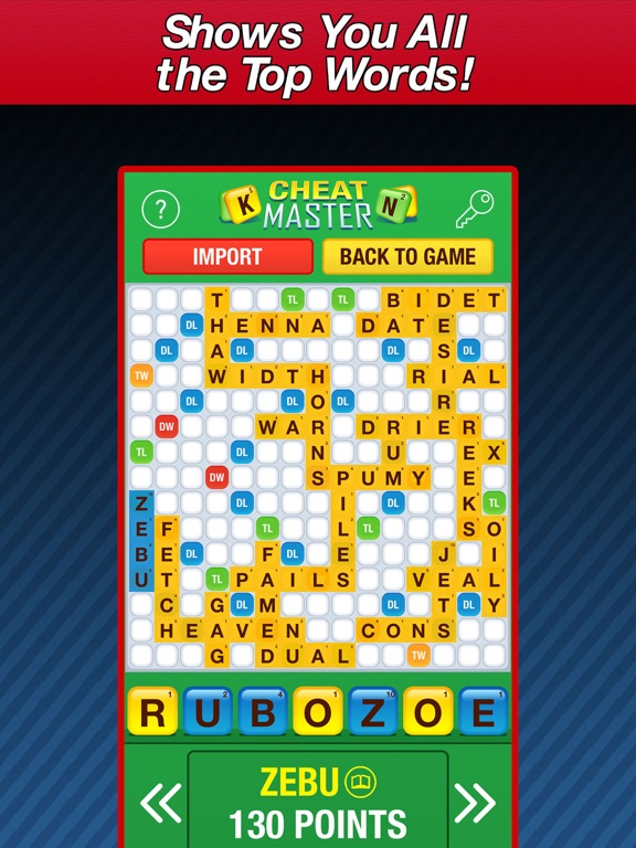 Cheat Master - word cheats for Words With Friends (free) screenshot