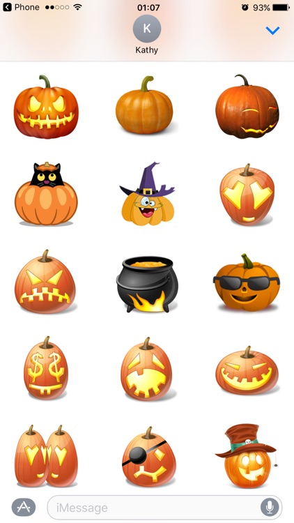 Halloween Pumpkin Emoji Stickers for Funny Text