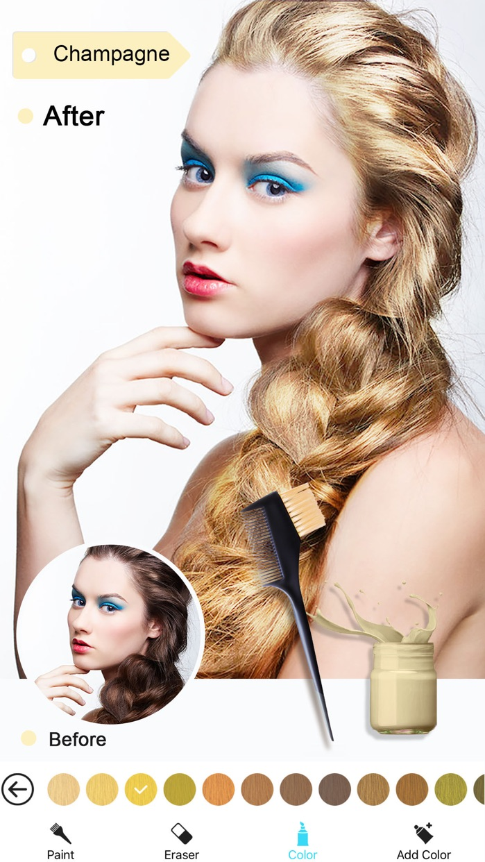 Hair Color Dye -Switch Hairstyles Wig Photo Makeup Screenshot