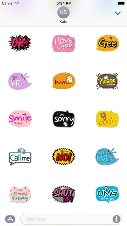 Cute Comic Talk Stickers Pack screenshot-3