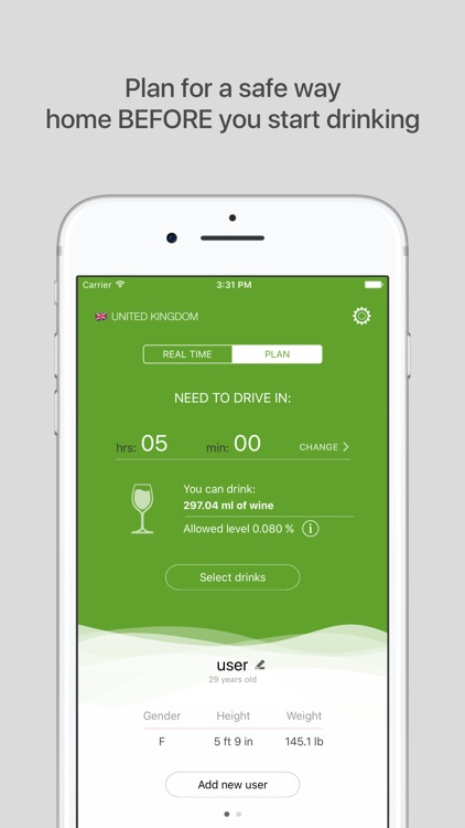 Green Light PRO - blood alcohol level calculator