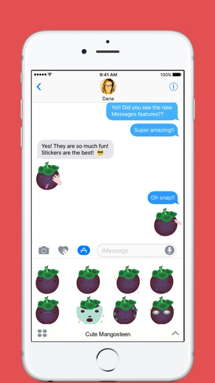 Cute Mangosteen stickers by Hang for iMessage
