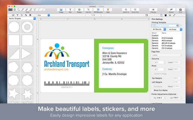 Label maker design print beautiful labels on the mac for Blueprint creator app