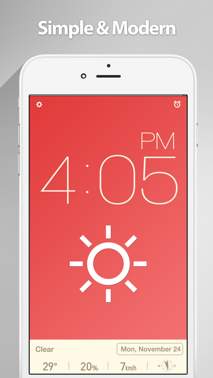 Red Clock - The Minimal Alarm Clock Screenshot