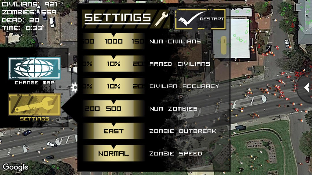 Zombie Outbreak Simulator - Online Game and Cheat ... on google maps space, google maps school, google maps helicopter, google maps horror, google maps camera, google maps technology, google maps search, google maps casino, google maps online, google maps classic, google maps race, google maps engine, google maps aviation, google maps book, google maps paper, google maps airplane, google maps radar, google maps home, google maps flight, google maps airport,