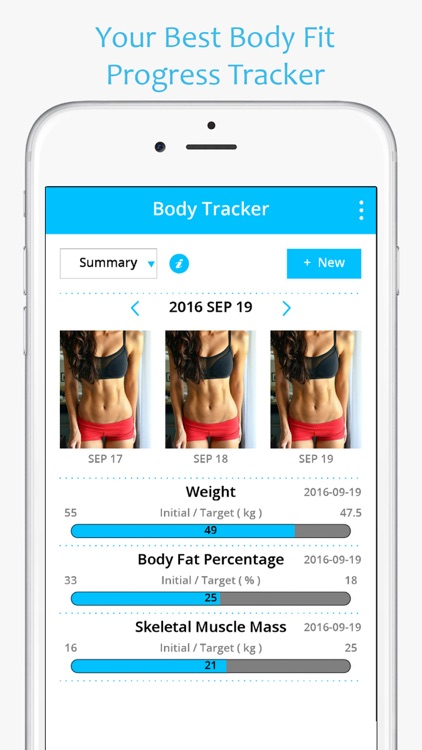 body fit progress tracker photo measurements
