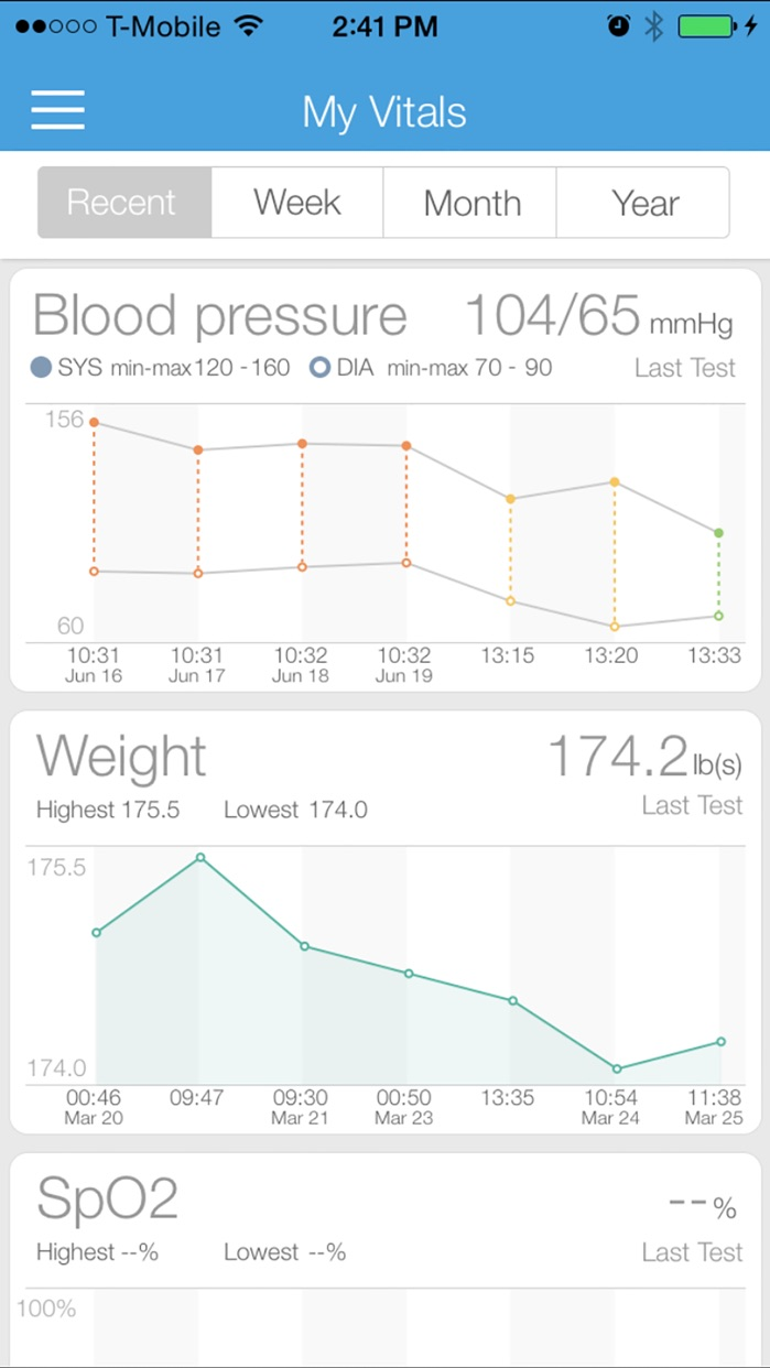 iHealth MyVitals Screenshot
