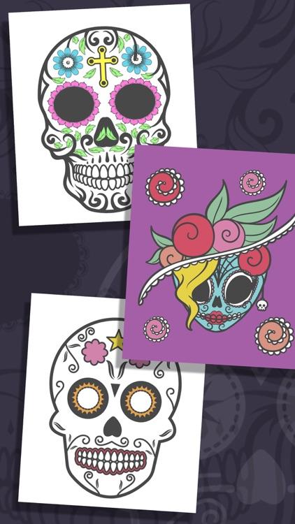Sugar Mexican skull - Coloring book for adults screenshot-3