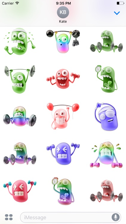 3D Workout Gym Emoji screenshot-2