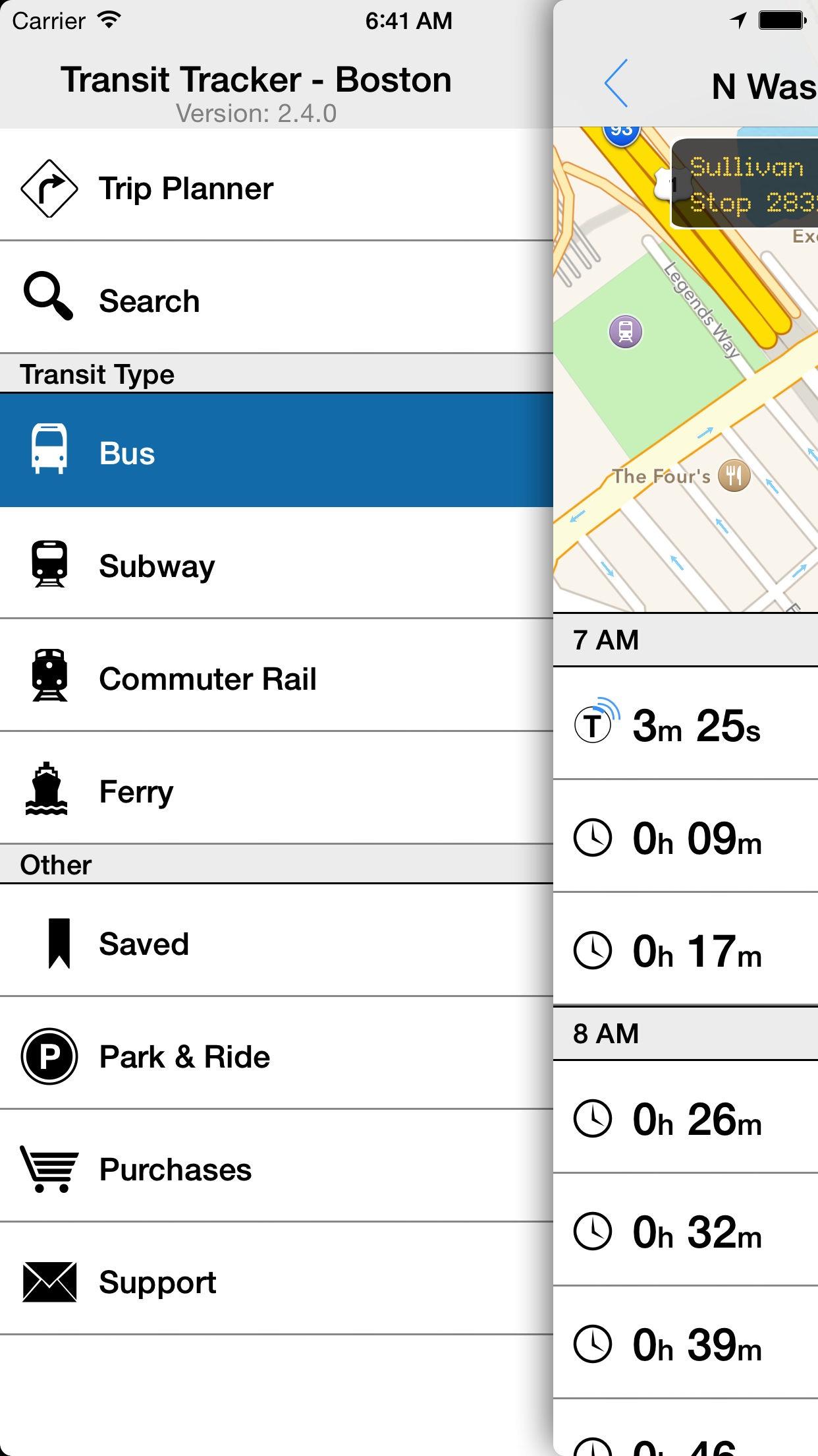 Transit Tracker - Boston (MBTA) Screenshot