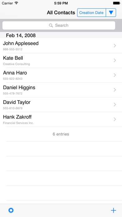 Contacts last entries & search screenshot three