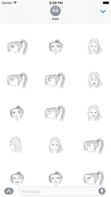 Girl Posing and Expressions Sticker (Mono version)
