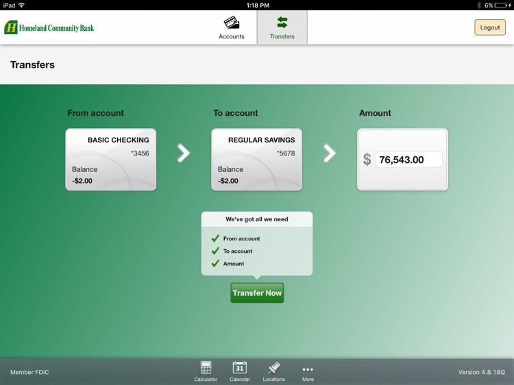Homeland Community Bank for iPad screenshot-3