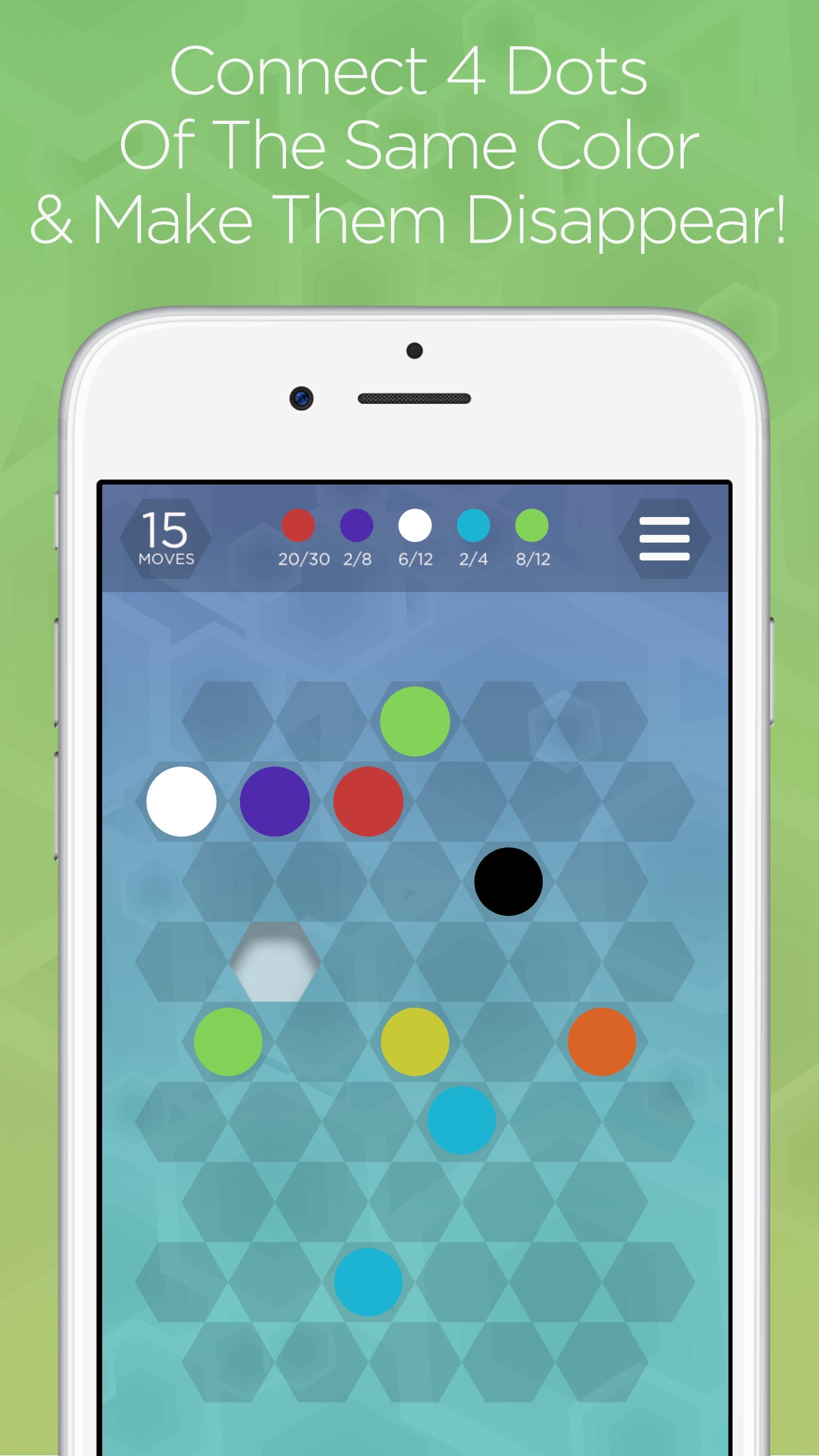 Hexa Dots - Connect Four Dots of the Same Color Screenshot