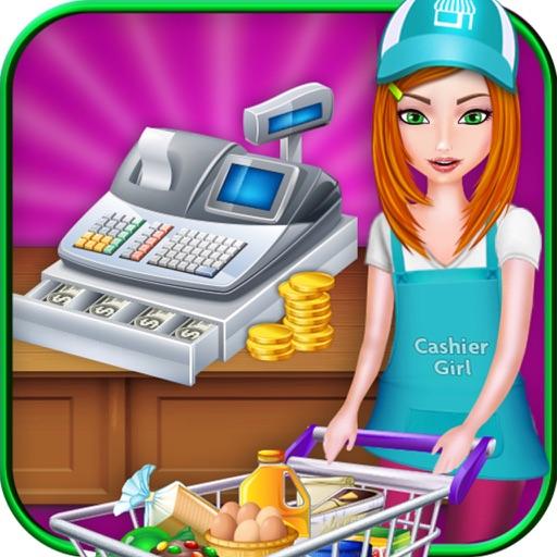 Супермаркет девушка кассовый & продуктовый магазин