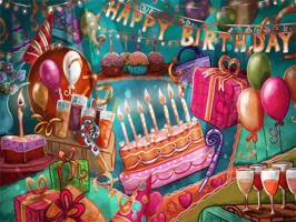 """""""Happy Birthday Gift Maker"""" have 182 stickers with images of cards, bubbles, cakes, candles, gifts"""