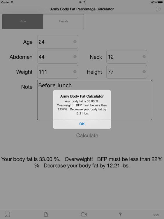 Army Body Fat Percentage Calculator for iPad