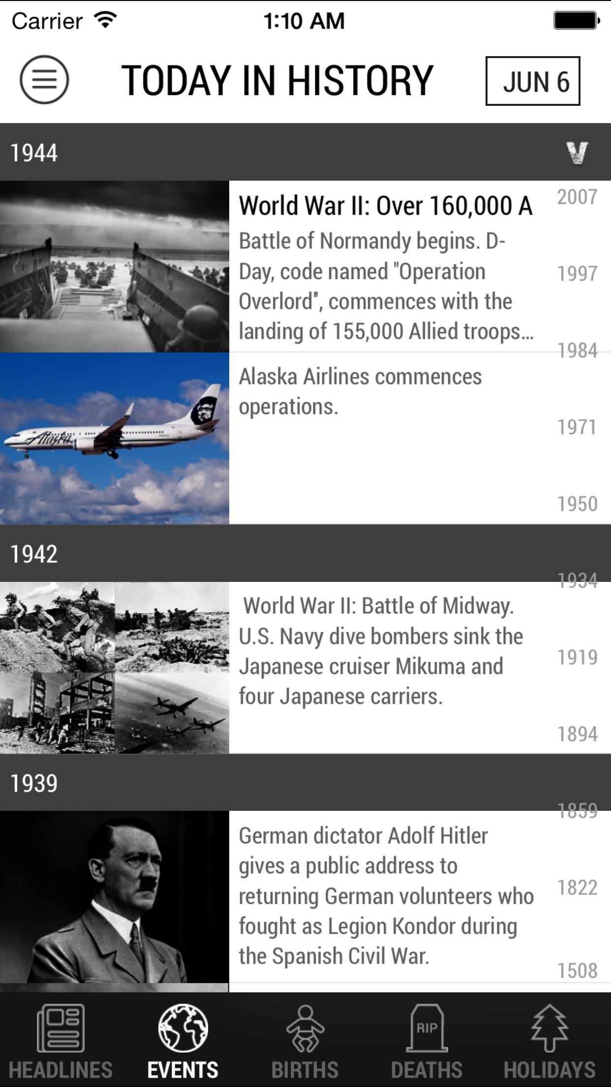 Screenshot do app Today In History
