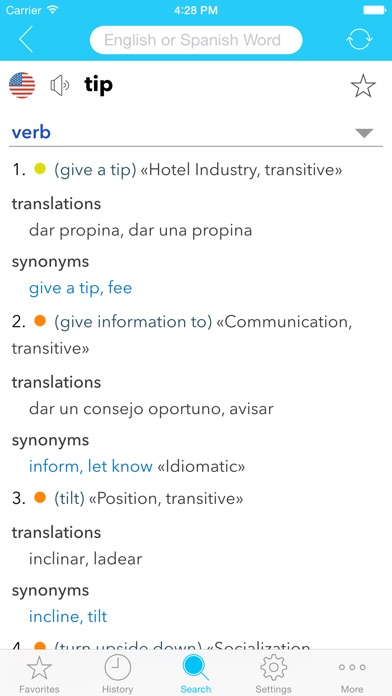 English Spanish Dictionary C. Screenshots
