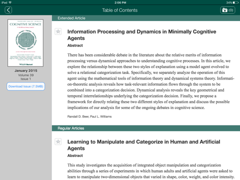 Screenshot of Cognitive Science