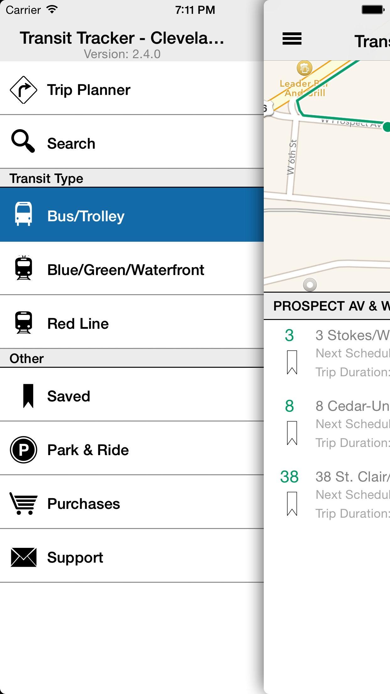 Transit Tracker - Cleveland (RTA) Screenshot