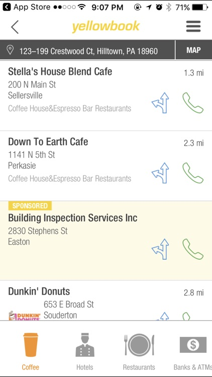 Yellow pages business search app