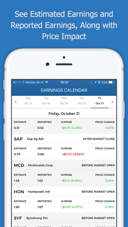 Stock Earnings Calendar with Conference Calls