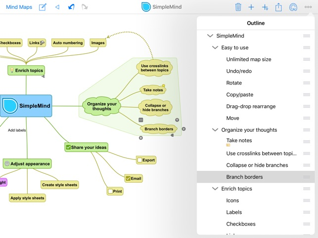 SimpleMind+ Mappe Mentali Screenshot