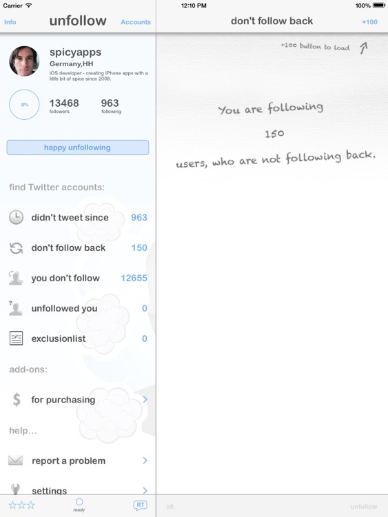 unfollow for Twitter - iPad edition