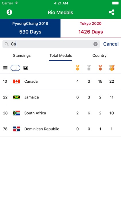 Rio Medals - Medal Results for the Rio Summer Games 2016 and PyeongChang 2018 and Tokyo 2020 Countdown screenshot-4