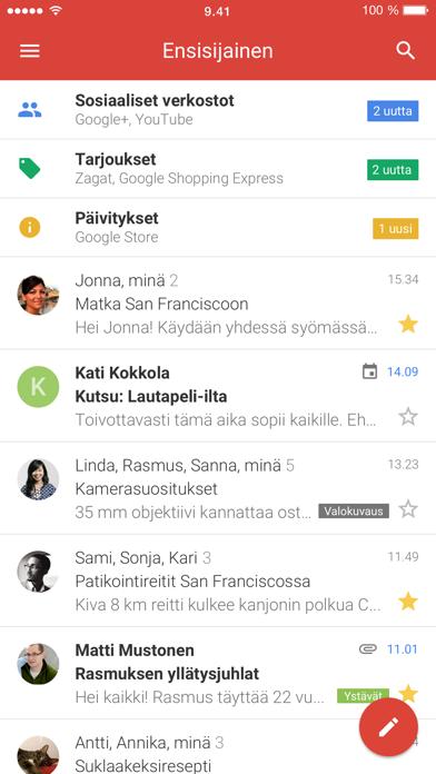 Screenshot for Gmail – sähköposti Googlelta in Finland App Store