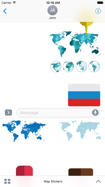 Map and Flag Stickers For iMessage