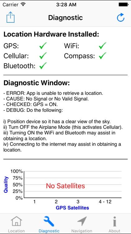 GPS Diagnostic - Satellite Test Tool & Coordinates