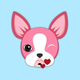 Valentine's Day Boston Terrier Emoji Stickers