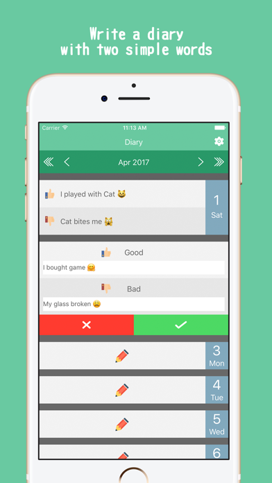 Two words in a day | Simple Diary app screenshot one