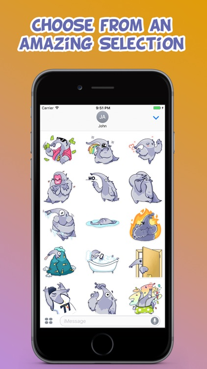 Cool Anteater Emotions Stickers Pack for iMessage