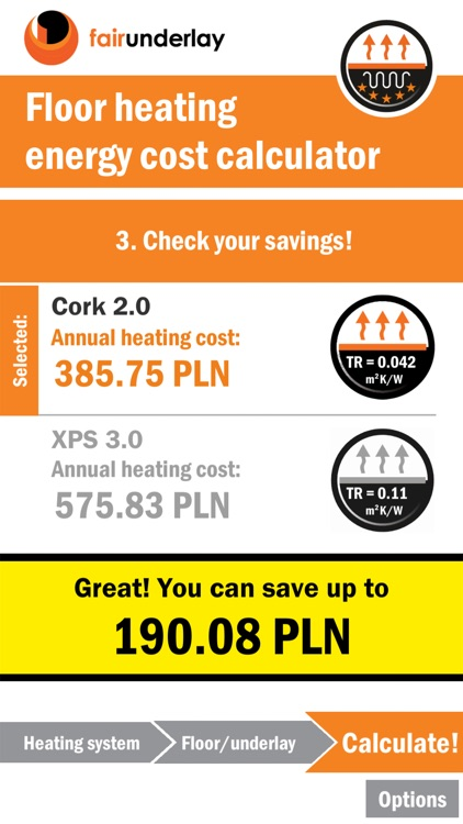 Floor heating calculator by Fairpacking