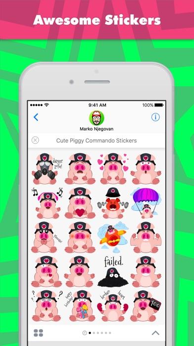 Niedliche Piggy Kommando Aufkleber-StickerScreenshot von 1