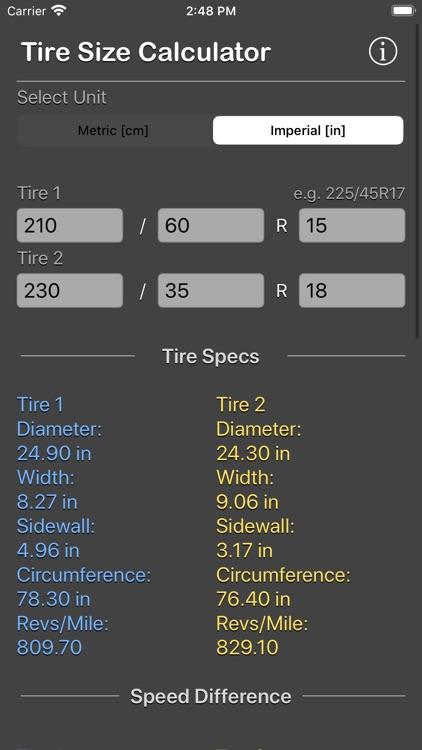 Tire Size Calculator Plus screenshot-9